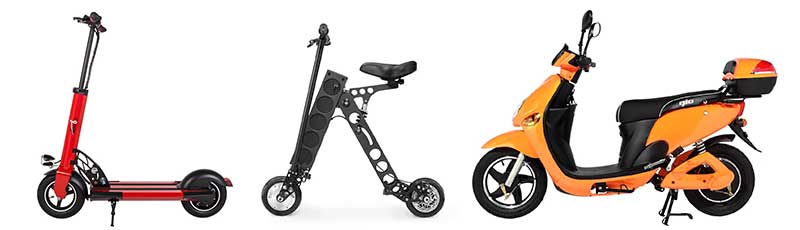 Electric motorized scooters for adults - from stand-on through foldable scooter to electric moped